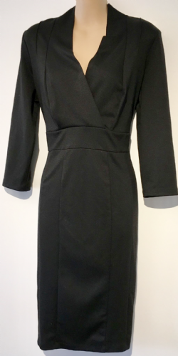 DUNNES BLACK CROSS OVER PENCIL DRESS SIZE 12